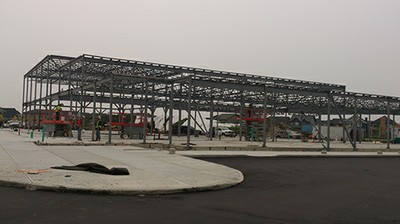 August 27, 2015 - Erecting the Steel Frame