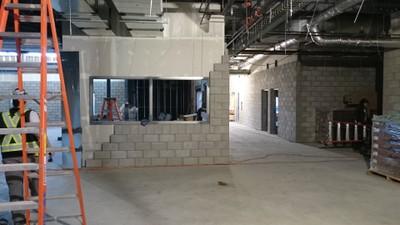 February 4, 2016 - Interior concrete block installation